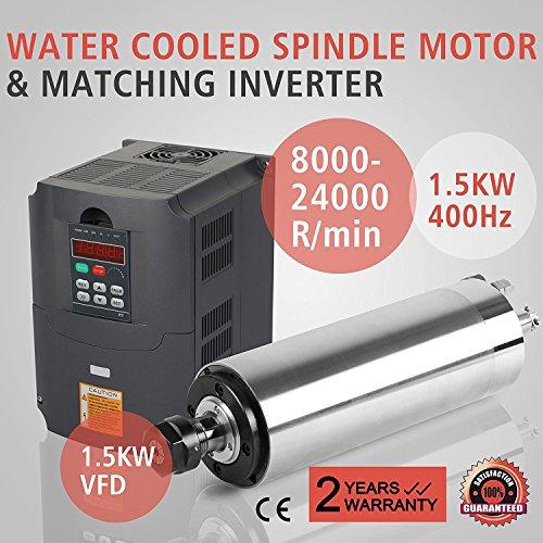 ZauberLu 1,5KW Wassergekühlte Spindelmotor Für CNC Gravieren ER20 Air Cooled Spindle Motor und 1,5KW Frequenzumrichter VFD Inverter Antrieb