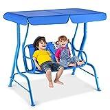 GOPLUS Hollywoodschaukel Kinderschaukel Gartenschaukel Doppelschaukel Schaukelbank Gartenbank mit Sonnendach (Blau)