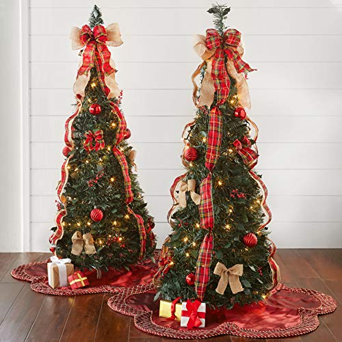 BrylaneHome Christmas Fully Decorated Pre-Lit 4 1/2' Pop-Up Christmas Tree , Plaid
