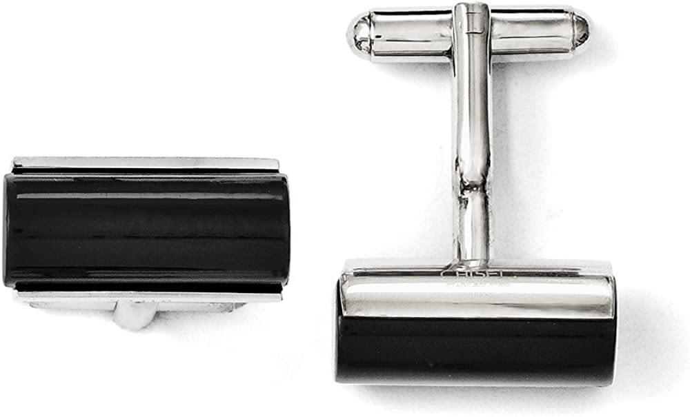 Stainless Steel Black Agate Polished Cufflinks