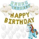 Sodee globos de cumpleaños, Kit de Decoración De Fiesta De Cumpleaños, Globos de Feliz Cumpleaños Banner Mylar Foil Letters + Cartel de Feliz Cumpleaños + Globos de Látex con Confeti + Globo de...