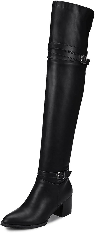 JIEEME Ladies Fashion Block Heels High Heels Pointed Toe Slip-on Over-The-Knee Women Boots