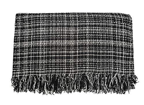ADP Home - Plaid/Colcha Multiusos Jaspeado Ideal para Cama o Sofá (Medida: 230X260 cm), Negro
