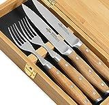 Steakchamp 4 Musketeer-Juego de Cubiertos (Acero al Carbono, 2 Cuchillos 2 Tenedores de Carne en Caja de Regalo), Madera, 20 cm