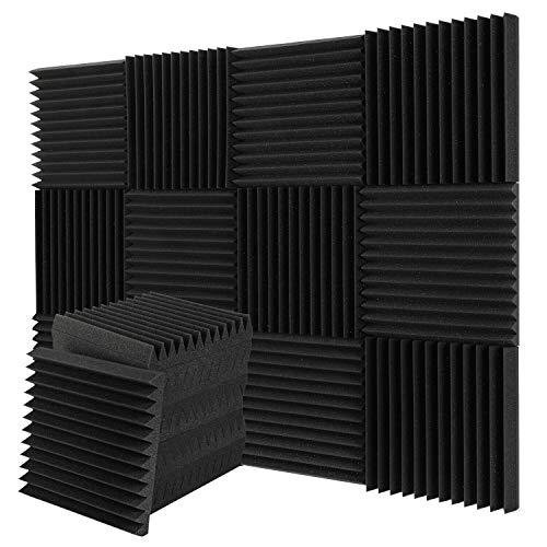 Paquete de 12 paneles de espuma acústica, insonorización, ignífugos, ideal para el hogar y el estudio, aislamiento acústico de 30 x 30 x 2,5 cm