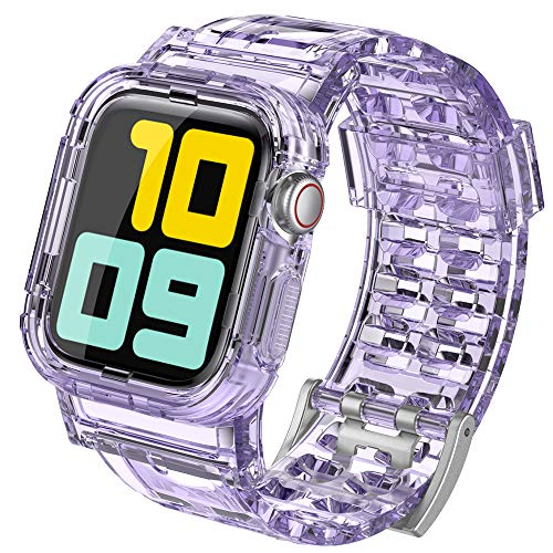 AhaStyle Crystal iWatch Band Strap with Rugged Bumper Case Compatible with Apple Watch 38mm 40mm 42mm 44mm, iWatch Series SE/6/5/4/3/2/1 (Crystal Lavender, 38mm/40mm)