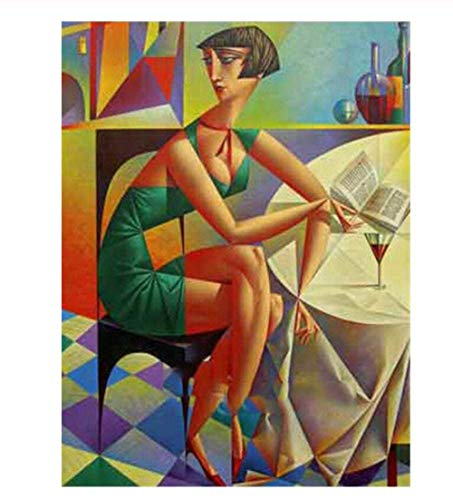 5D Diamond Painting Drawing DIY Abstract Woman Wine Book Table Portrait Picture Gift Kit Embroidery Cross Stitch Mosaic Home Decoration 40X50 cm