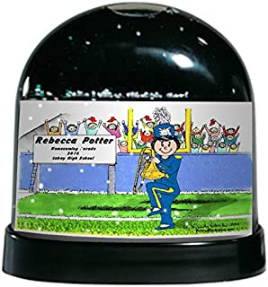 PrintedPerfection.com Personalized Friendly Folks Cartoon Caricature Snow Globe Gift: Trombone - Female Great for Marching Band