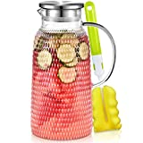 Aofmee Pitcher, 81oz Glass Pitcher, Water Pitcher with Lid, Iced Tea Pitcher Lemonade Pitcher, Glass Carafe for Cold or Hot Beverages, Sun Tea Jar, Easy Clean Heat Resistant Glass Jug for Juice, Milk