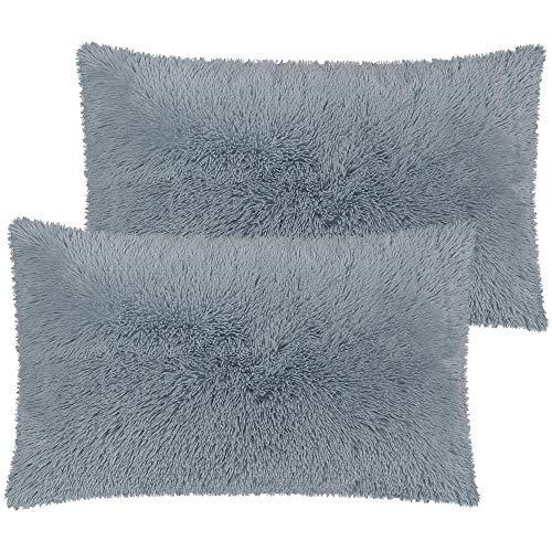 PiccoCasa Pack of 2 Silver Faux Fur Pillow Cases Fluffy Shaggy Plush Long Hair Fur Soft Throw Pillow Covers Shams with Zipper Closure King 20x36 Inch