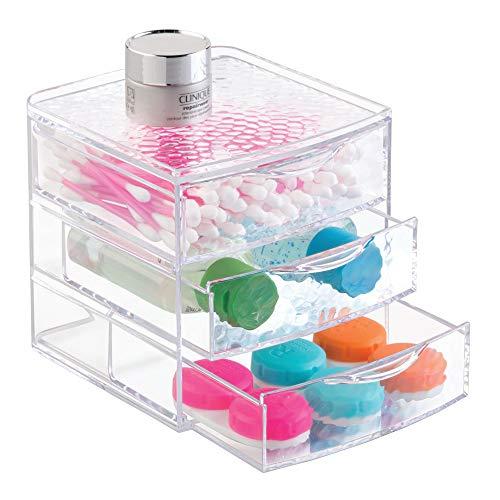 InterDesign Rain rangement maquillage, box maquillage en plastique avec 3 tiroirs, boite-tiroirs pour cosmétiques et produits beauté, transparent