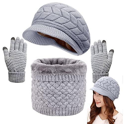 CheChury Gorras Invierno con Bufanda y Guantes Mujer Moda Calentar Sombreros Gorras de Punto Forro de Lana Guantes Táctiles Deportes de Invierno,Gris,Onesize
