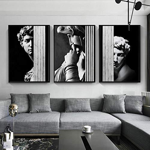 ZLARGEW Cuadro de decoración Mural de Pared en Blanco y Negro nórdico Moderno Retro Columna Romana Figura Carteles Escultura de Yeso de David Imagen de Arte - 40x60cmx3 Sin Marco
