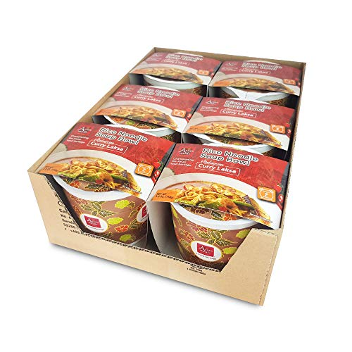 Asianmeals Rice Noodle Soup Bowl (Curry Laksa, Pack of 6) Instant Soup Paste, Asian food, Chili and spices, Soup mix with coconut cream, Ramen Noodles, 3.8oz each