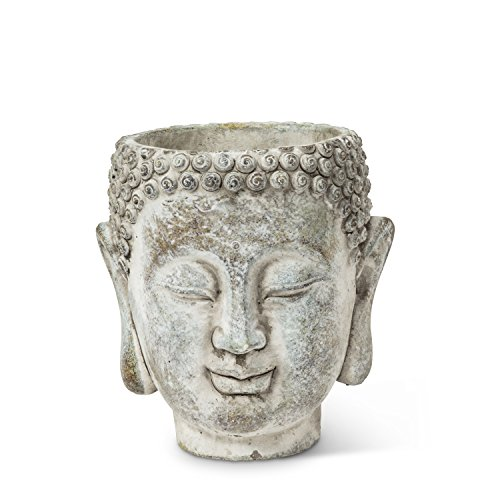 Abbott Collection 27-DHARMA/350 SM Small Buddha Head Planter, Grey