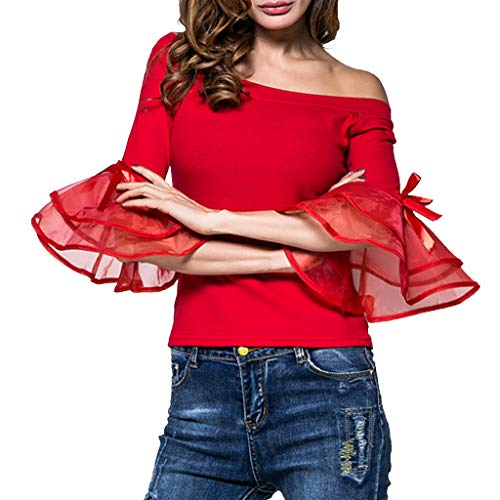 HappyShopYZ Top de Color Liso para Mujer Blusa con Hombros Descubiertos Mujer...