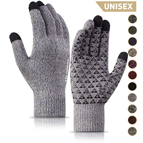 TRENDOUX Winter Gloves, Touch Screen Gloves - Knit Warm Unisex Texting Gloves - Anti-Slip - Elastic Cuff - Thermal Wool Lining - Hands Warm in Cold Weather - Stretchy Material Light Gray - L