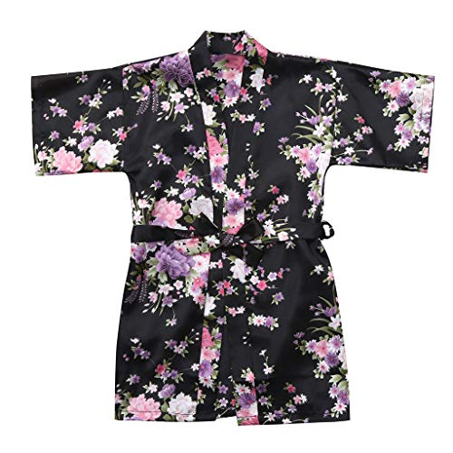 Nachtkleding kleding, kleine kinderen, dik, baby, kind, meisjes, bloemensilk, satijn, kimono, roben, badjas 8 zwart