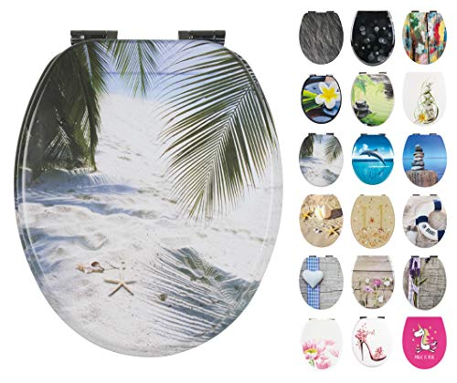 Calmwaters® WC Sitz Strand Motiv Südsee mit doppelter Absenkautomatik, Fast-Fix-Befestigung aus Metall, universale O-Form, stabiler Holzkern Toilettendeckel, ovaler Komfort Toilettensitz, 26LP3472