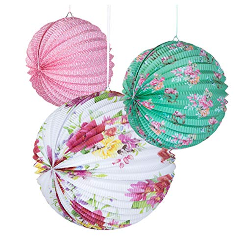 Talking Tables Truly Scrumptious, Tea Decorations Floral Paper Lanterns-for Birthday Party, Baby Shower, Wedding and Anniversary, Pastel Colours, 3 Sizes, Pack of 3
