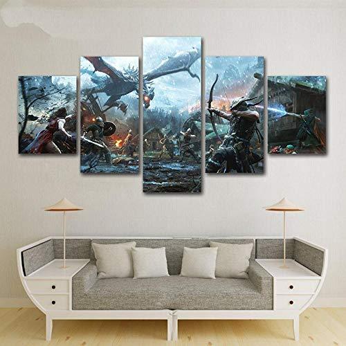 UYEDSR Pintura 5 Lienzo de Pintura de Héroes legendarios de Skyrim para la decoración Fondo del Dormitorio