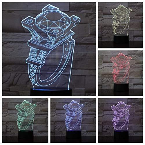 Lámpara de ilusión Anillo de diamantes 3D LED Luz de noche LAN Brasil Lámpara de mesa RGB Niño Niño Niño Niño Bebé Regalo de cumpleaños USB 3D LED Luz de noche Neón