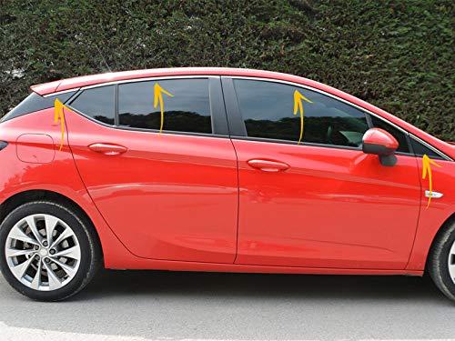 Embellecedor de marco de ventana de acero inoxidable cromado para Opel Astra K 2015 en adelante con 5 puertas, 8 unidades en la parte superior