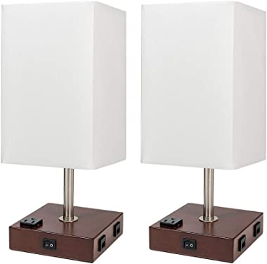 DEEPLITE Lamps for Bedrooms Set of 2, Bedside Lamp with USB Ports and AC Outlet, Modern Table Lamp for Nightstand, End/Side Table, Dresser, Office Desk, Wood Rustic Lamp for Living Room, Dorm Reading