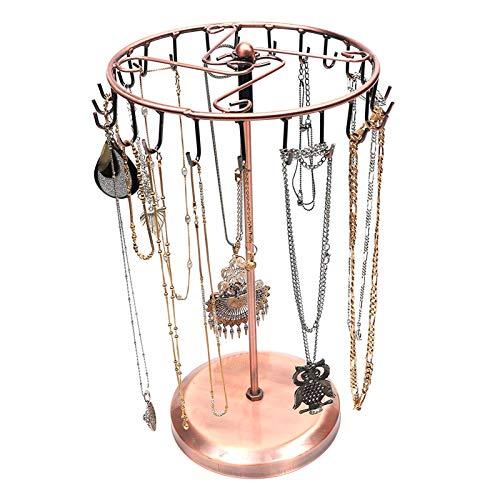 Soporte de joyería - Soporte Giratorio de Cobre con 23 Ganchos para Collares - Organizador de Joyas - Soporte de exhibición para Colgante, Pulsera, Pendientes, Anillos y Relojes