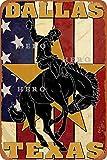 Dallas Texas Cowboy, Vintage-Blechschild, Kunst,