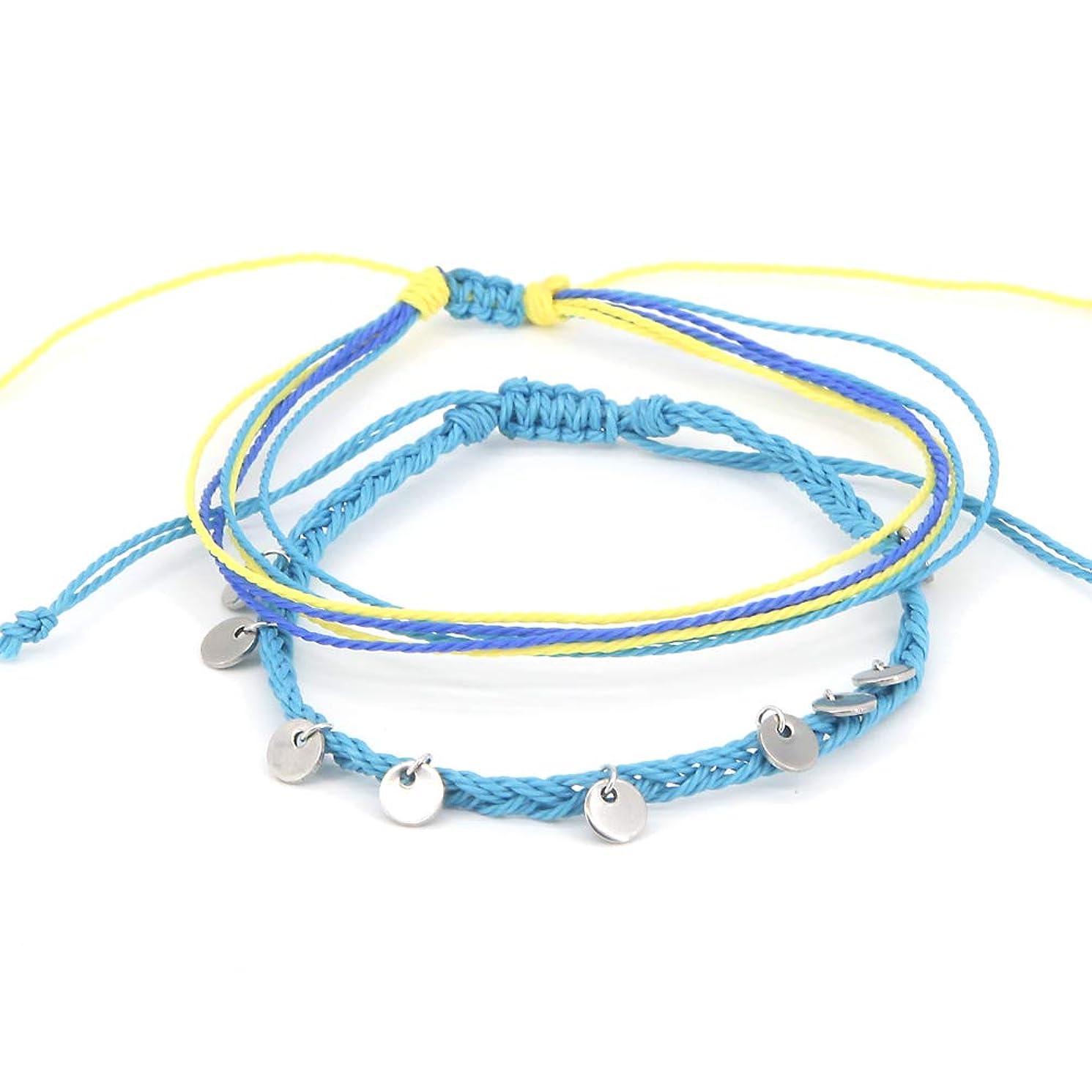 Waterproof Boho Anklet Handmade Braided Rope Ankle Bracelet Bead Surfer Beach Foot Jewelry for Women