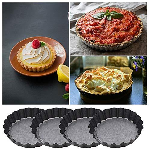 Behavetw Lot de 4 en acier carbone anti-adhésif cannelée plaque de cuisson avec supports de courroie, rond Mini Fruits à tarte Tartelette gâteau plaque à pâtisserie, 10 cm, Voir image, 10 cm