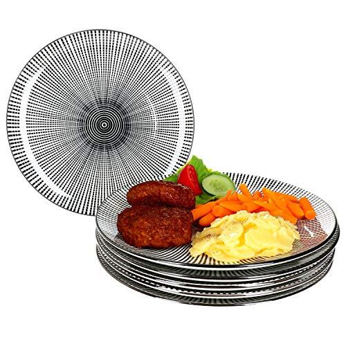 MamboCat Taipei 6X Speise-Teller I Steingut-Geschirr für 6 Personen - elegant-Zeitloses Design I 6-er Teller-Set - mit modernem Black & White Linien-Muster I Flache ESS-Teller schwarz-weiß 6 Stück