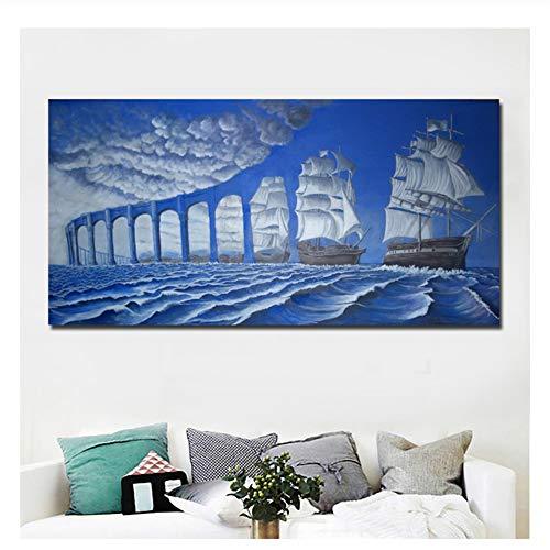 nr Blaue Brücke und Meer Malerei gedruckt auf Leinwand Wandkunst abstrakte Kunst Moderne Surrealismus Gemälde drucken Poster Home Decor-60x120cm No Frame