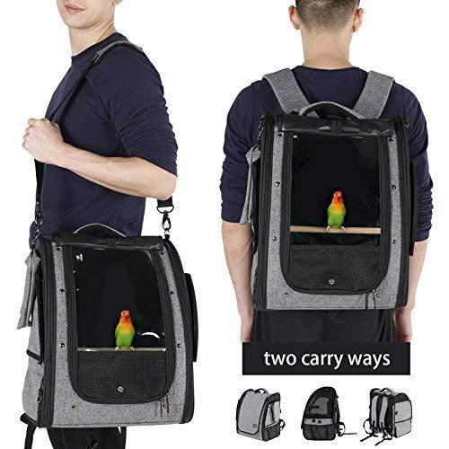 Petsfit Vogel Transporttasche Transportbox, wellensittich zubehör vogelkäfig mit Edelstahlschale und Slide Tray, 33cm x 25cm x 41cm