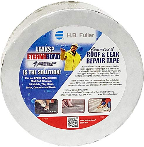 EternaBond RoofSeal White 1.5″ x50′ MicroSealant UV Stable Seam Repair Tape | 35 mil Total Thickness EB-RW014-50R – One-Step Durable, Waterproof and Airtight Repair