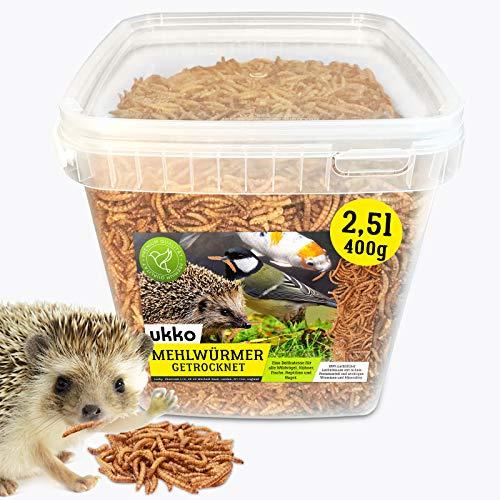 Mehlwürmer getrocknet 2,5 Liter, optimales Zusatz Futter für Reptilien, Fische, Vögel & Co.