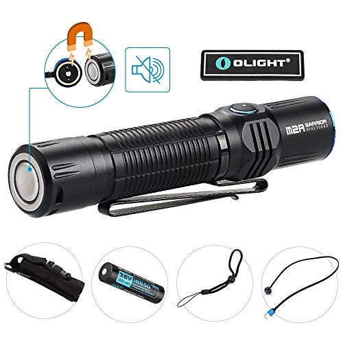 OLIGHT Bundle M2R Tactical Flashlight High Performance LED 1500 Lumen Most Powerful Pocket Friendly Hunting Light Powered by 10a hdc 3500mAh 18650 Battery with USB Magnetic Cable Patch