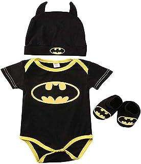 Greetuny - Set da 3 pezzi pagliaccetto estivo per neonati, costume da Batman, body per neonato