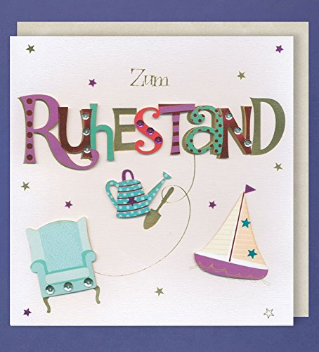 Grußkarte Ruhestand Handmade Accessoires Applikationen Sessel Boot Gießkanne 21 x 21 cm