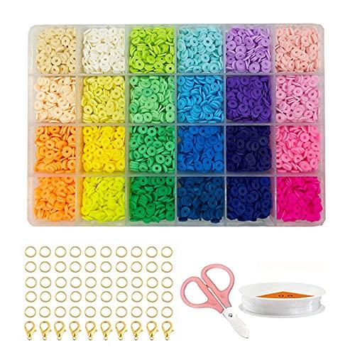 Bolitas Para Hacer Pulseras Soft Ceramic Set Macaron Gradient, Soft Ceramic Sliced Flat Round Polymer Clay Bead-Colocar