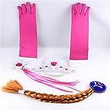 Multiculture Disfraz de princesa Frozen Anna con guantes, varita mágica, tiara y trenza.
