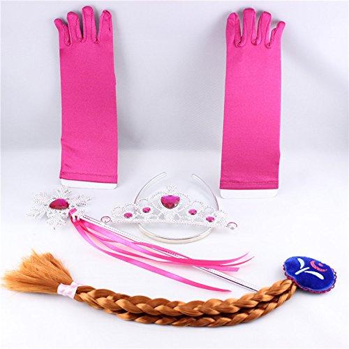 Multiculture Eiskönigin Frozen Anna Prinzessin Kostüm Handschuhe Zauberstab , Tiara und Zopf (Prinzessin Anna Pink)