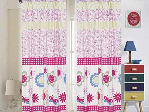 Bedding Haus Kids Curtain Set (2 Panels), Multi-Color Floral But