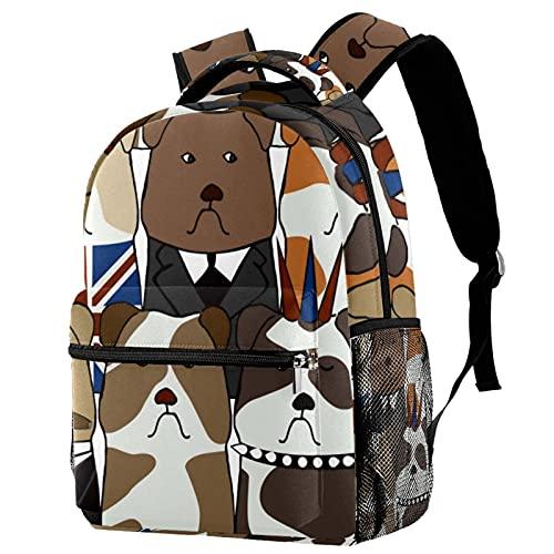 KeepCart zaino bookbag daypack borsa da scuola escursionismo backpacking Impara ad alta capacità e carino all'aperto Modèle avec des bouledogues anglais per uomini e donne