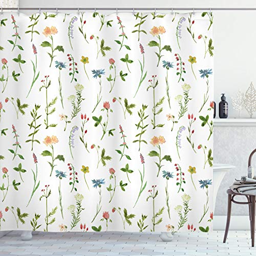 "Ambesonne Floral Shower Curtain, Spring Season Themed Watercolors Painting of Herbs Flowers Botanical Garden Artwork, Cloth Fabric Bathroom Decor Set with Hooks, 84"" Long Extra, Ivory"