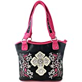 Justin West Western Rhinestone Cross Tote Purse Embroidery Floral Design Leather Concealed Carry Handbag (Beige)