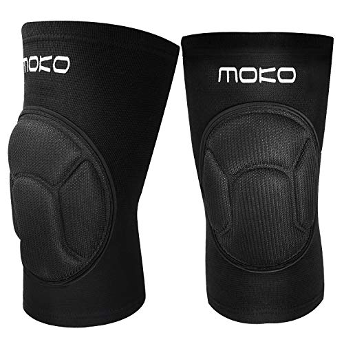 MoKo Knee Brace Support, Protective Volleyball Knee Pads, Professional Thick Sponge Compression Knee Sleeves for Dance Arthritis Joint Pain Relief Injury Recovery, Fit Men Women Youth, 1 Pair, Black