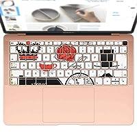 igsticker MacBook Air 13inch 2018 専用 キーボード用スキンシール キートップ ステッカー A1932 Apple マックブック エア ノートパソコン アクセサリー 保護 009300 外国 フラワー 赤 黒