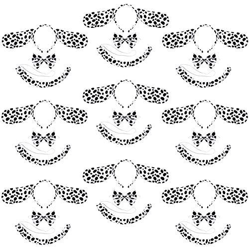 WILLBOND 27 Pieces Dalmatian Costume Set Dog Ear Headband Elastic Bowtie Tail for Halloween Cosplay Costume Party Decoration